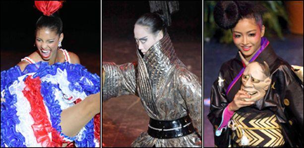 Vasemmalta Miss Ranska, Miss Kiina ja Miss Japani.