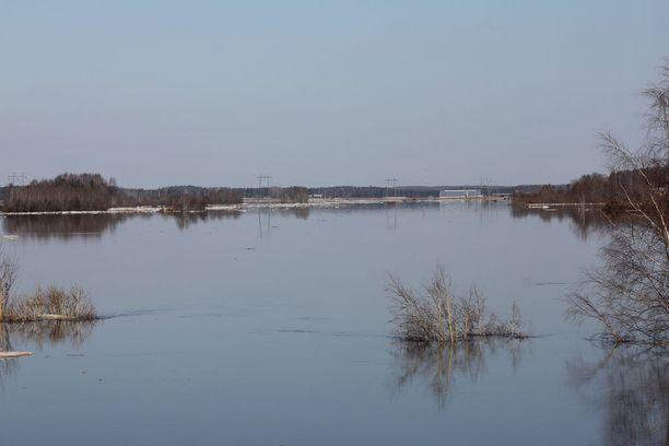 Lapuanjoki on tulvinut laajalle alueella Kauhavan Ylihärmän Liinamaassa.