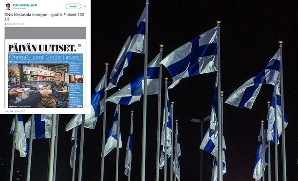 Myös Ruotsissa on huomioitu hienolla tavalla Suomen 100-vuotisjuhla. Kuvituskuva.