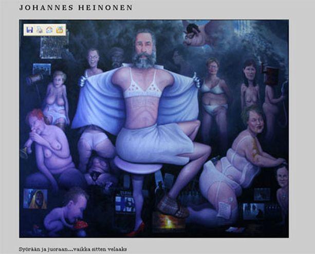 Syörään ja juoraan...vaikka sitten velaaks -teos sensuroitiin Johannes Heinosen näyttelystä.