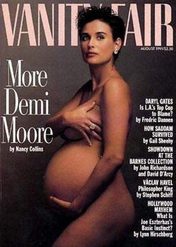 Demi Moore Vanity Fair -lehden kannessa vuoden 1991 elokuussa. Kuvan on ottanut Annie Leibovitz.
