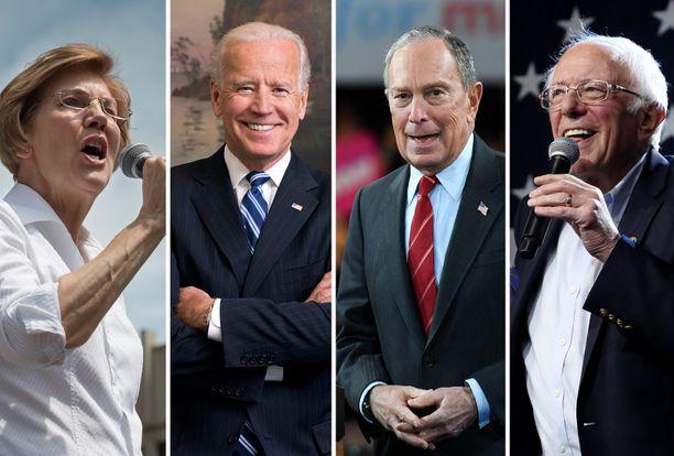 Elizabeth Warren, Joe Biden, Michael Bloomberg ja Bernie Sanders mittauttavat kannatustaan tiistaina.
