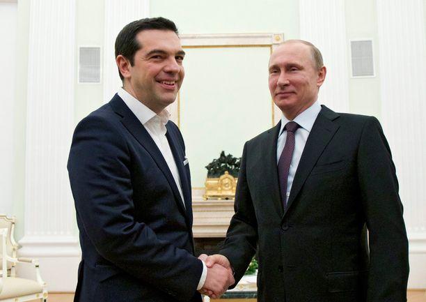 Tsipras ja Putin aloittivat neuvottelunsa iltapäivällä.