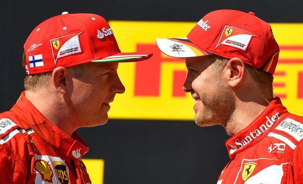 Kimi Räikkönen ja Sebastian Vettel kukistivat Mercedekset.