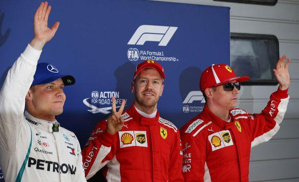 Sebastian Vettel oli aika-ajojen ykkönen, Kimi Räikkönen kakkonen ja Valtteri Bottas kolmonen.