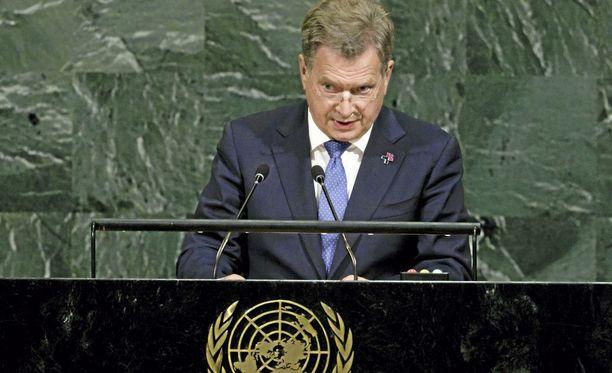 Sauli Niinistö puhui YK:ssa muun muassa ilmastonmuutoksen ja väestönkasvun maailmalle aiheuttamista haasteista.