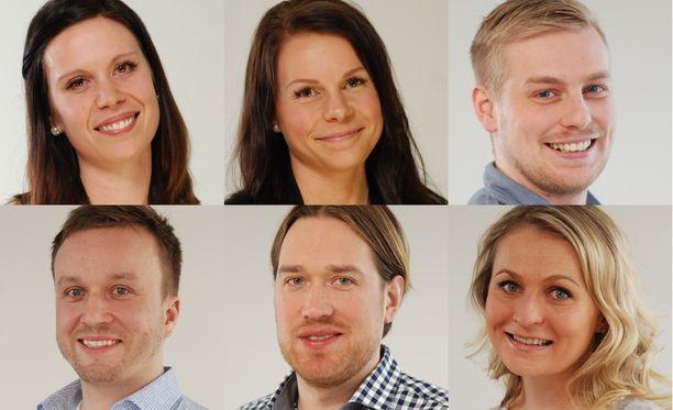 Sari, Tanja, Roni, Antti, Jouni ja Mari tapasivat kukin aviopuolisonsa ensimmäistä kertaa alttarilla.