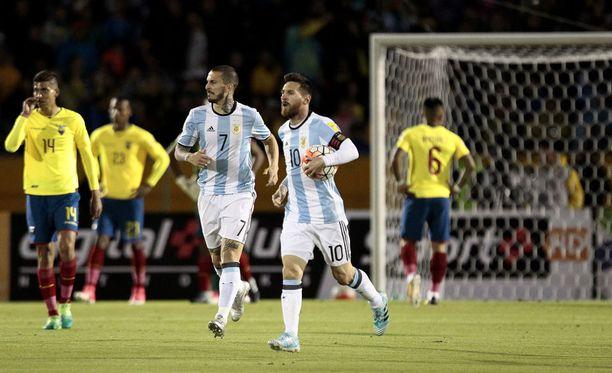 Leo Messi teki hattutempun Argentiinan 3-1-vierasvoitossa.