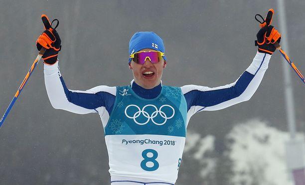 Iivo Niskanen pääsi tuulettamaan olympiakultaa.