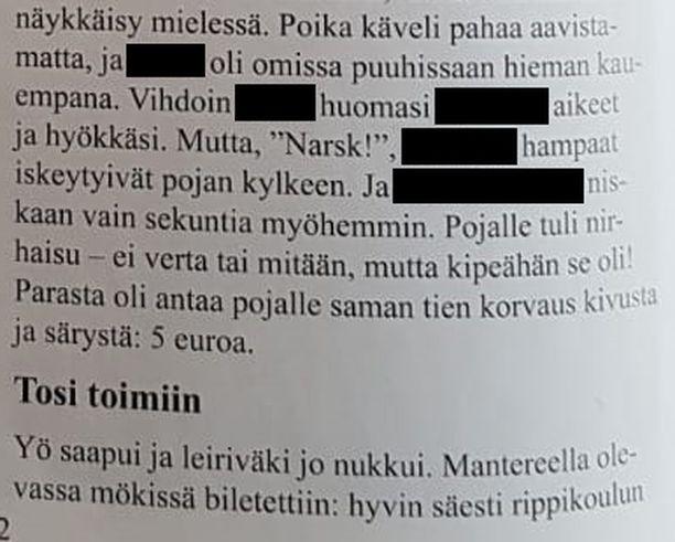Tekstistä on peitetty koirien nimet. Teksti julkaistiin toimitetussa julkaisussa.