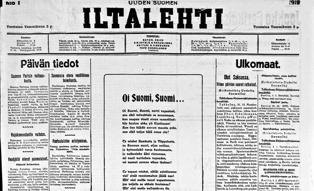 Iltalehden etusivu vuodelta 1919.
