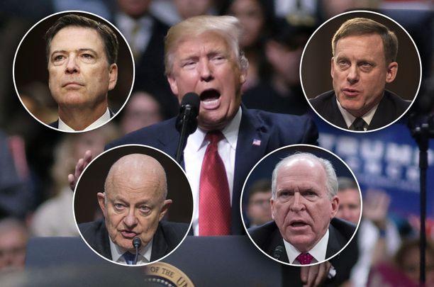 Yhdysvaltain presidentti Donald Trump on riidoissa entisten turvallisuusviranomaisten kanssa. Pienissä kuvissa ylärivissä FBI:n entinen johtaja James Comey (vasemmalla) ja kansallisen turvallisuusviraston entinen johtaja Michael Rogers. Alarivissä kansallisen tiedustelun entinen johtaja James R. Clapper (vasemmalla) ja CIA:n entinen johtaja John O. Brennan.