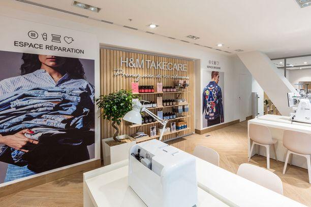 Pariisin Rue La Fayette -myymälä on yksi ensimmäisistä H&M Take Care -konseptin pilottiliikkeistä.