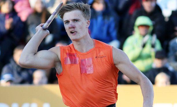 Oliver Helander voitti uransa ensimmäisen Suomen mestaruuden miesten keihäässä.