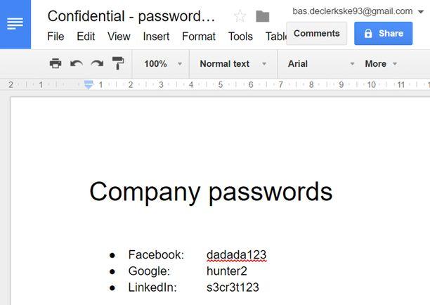 """Inti De Ceukelaire pyysi kokeeksi ystäväänsä luomaan """"salaisen"""" Google Docs -asiakirjan."""