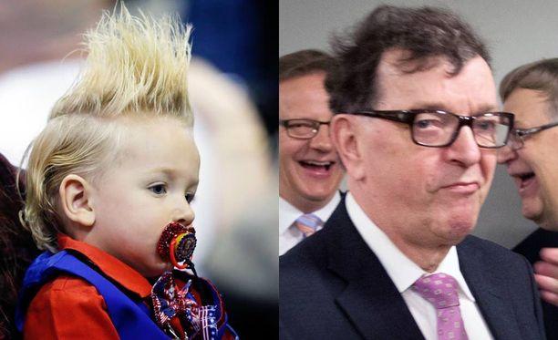 Trump-stailattu lapsi kampanjatilaisuudessa 2016. - Paavo Väyrynen huhtikuussa 2015, kun hän vaati ministerinsalkkua.