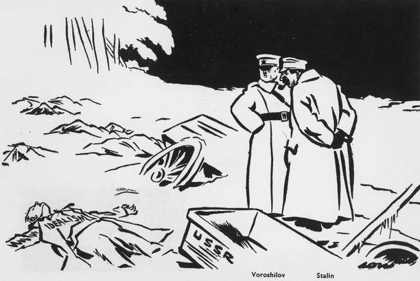 """David Low'n talvisodan aikaisessa pilakuvassa Josif Stalin ja Kliment Vorošilov katselevat raatojen keskellä kuolleena makaavaa """"idealismia"""". Kuvan alla on lukenut: """"Suomi – ensimmäinen uhri""""."""