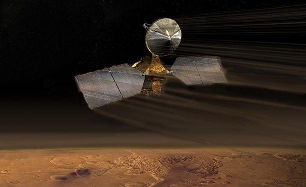 MRO-luotain käytti aerodynaamista jarrutusta asettuessaan Marsin kiertoradalle. Taiteilijan näkemys.