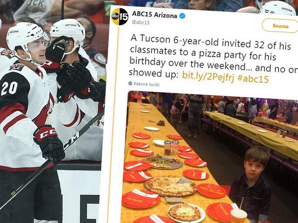 Arizona Coyotes lupasi järjestää lauantain kotiottelussaan pizzajuhlat 6-vuotiaan Teddy-pojan kunniaksi.