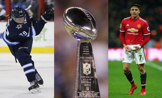 Patrik Laine, Vince Lombardi Trophy ja Alexis Sanchez saapuvat viikonloppuna telkkareihin.