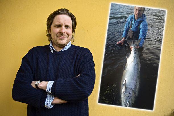 Tommi Liimataisen kalaporukkaan kuuluva Jesse nappasi ruotsalaisesta Byske-joesta jättilohen.