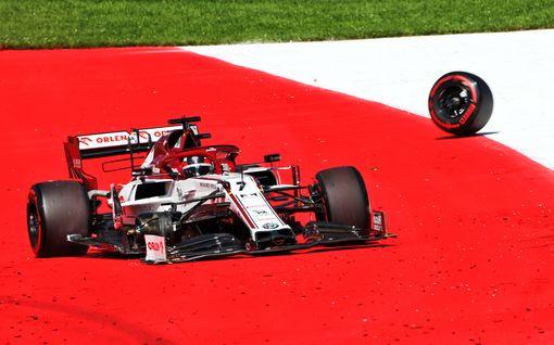 Kimi Räikkönen keskeytti erittäin vaarallisesti: Alfasta irtosi rengas täydestä vauhdista