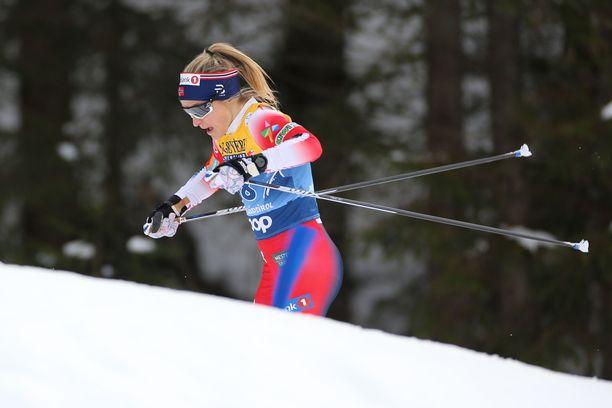 Therese Johaug hiihti voittajaksi. Arkistokuva.