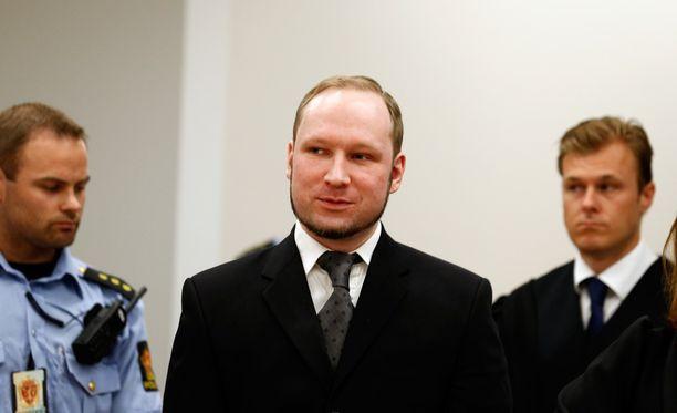 Breivik oikeudessa elokuussa 2012, jolloin hänet tuomittiin.