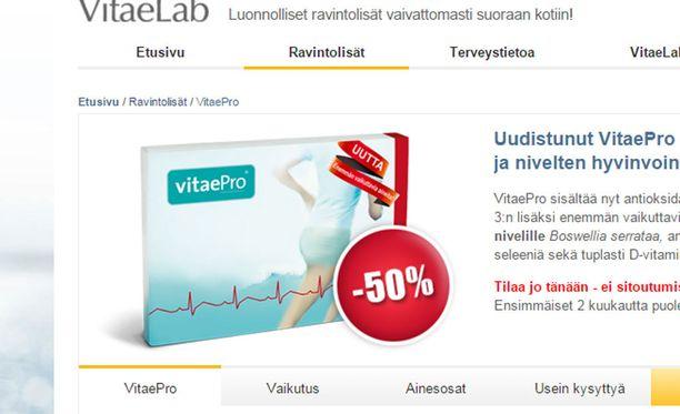 Ruotsin elintarvikevirasto on saanut kahdeksan ilmoitusta VitaePron epäillyistä vakavista sivuvaikutuksista.