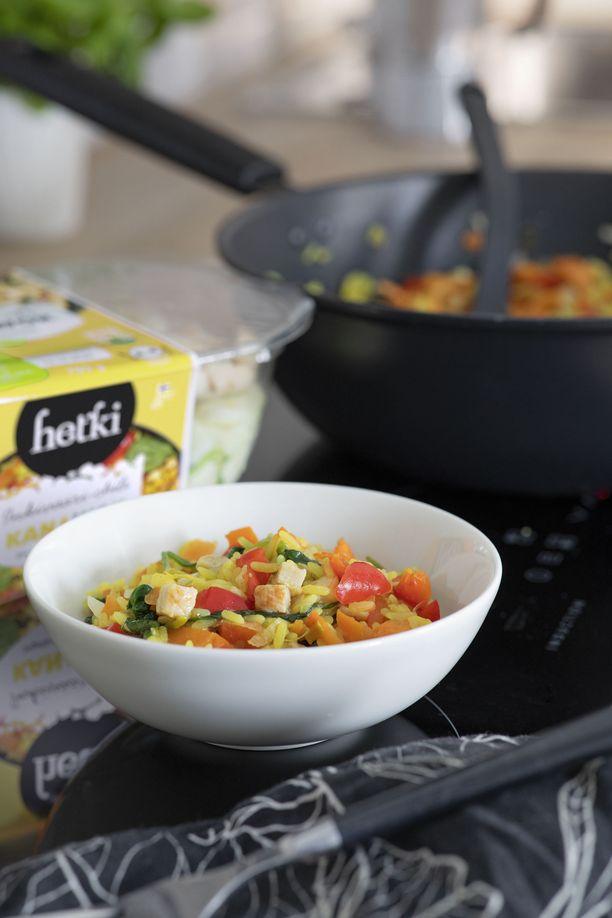 Hetki wok-aineksista syntyy käden käänteessä herkullinen ateria ilman turhaa hävikkiä.