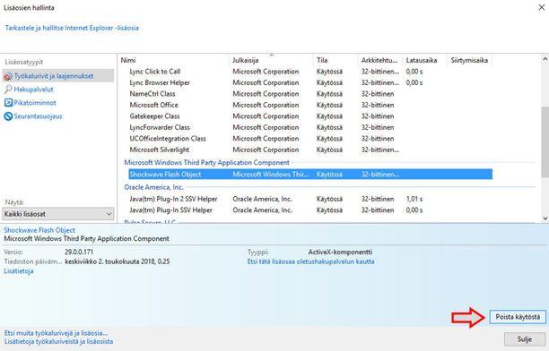Internet Explorerilla Flashin sulkeminen vie hieman enemmän aikaa.