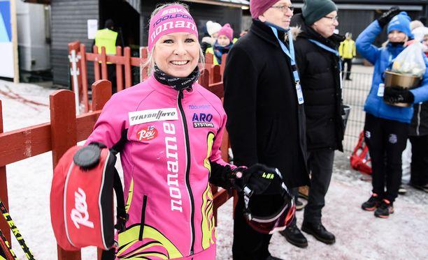 Riitta-Liisa Roponen antoi lauantain kympin Suomen mestaruudella oivan olympianäytön.
