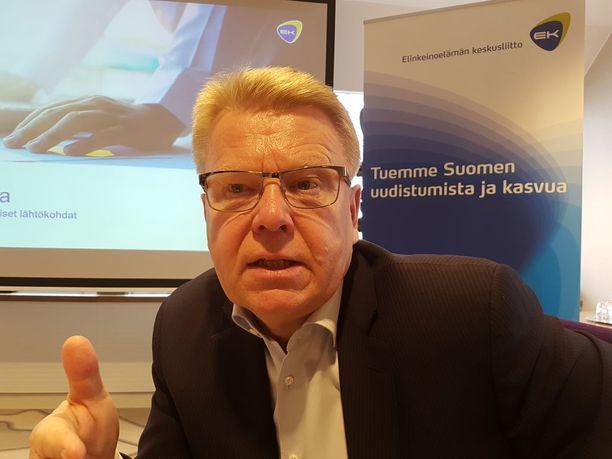 Elinkeinoelämän keskusliiton EK:n toimitusjohtajan Jyri Häkämiehen mukaan olisi synti olla yrittämättä saada hävittäjähankintojen siivellä uusia bisnesmahdollisuuksia Suomeen.