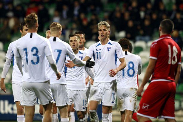 Onni Valakari on alle 21-vuotiaiden maajoukkueen johtotähti.