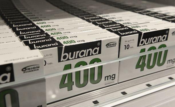 Esimerkiksi 400 milligrammaa ibuprofeenia sisältävää Buranaa myydään itsehoitolääkkeenä apteekeissa. Kyseessä on tulehduskipulääke. Kuvituskuva.