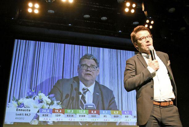 Yleisradion vaalilähetys näytti lähikuvaa kuntavaalien häviäjästä, perussuomalaisten puheenjohtajasta Timo Soinista, kun rockklubi Tavastian lavalla seisonut kuntavaalien voittaja, puheenjohtaja Ville Niinistö puhui puolueensa kannattajille vihreiden vaalivalvojaisissa.