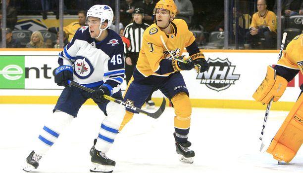Winnipeg Jetsin Joona Luoto (46) on yksi SM-liigaan tulleista lainapelaajista.