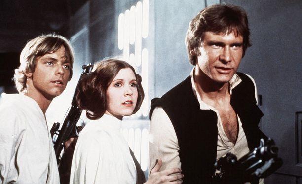 Mark Hamill, Carrie Fisher ja Harrison Ford palaavat rooleihinsa uudessa Tähtien sota -elokuvassa. Kuva Jedin paluu -elokuvasta.