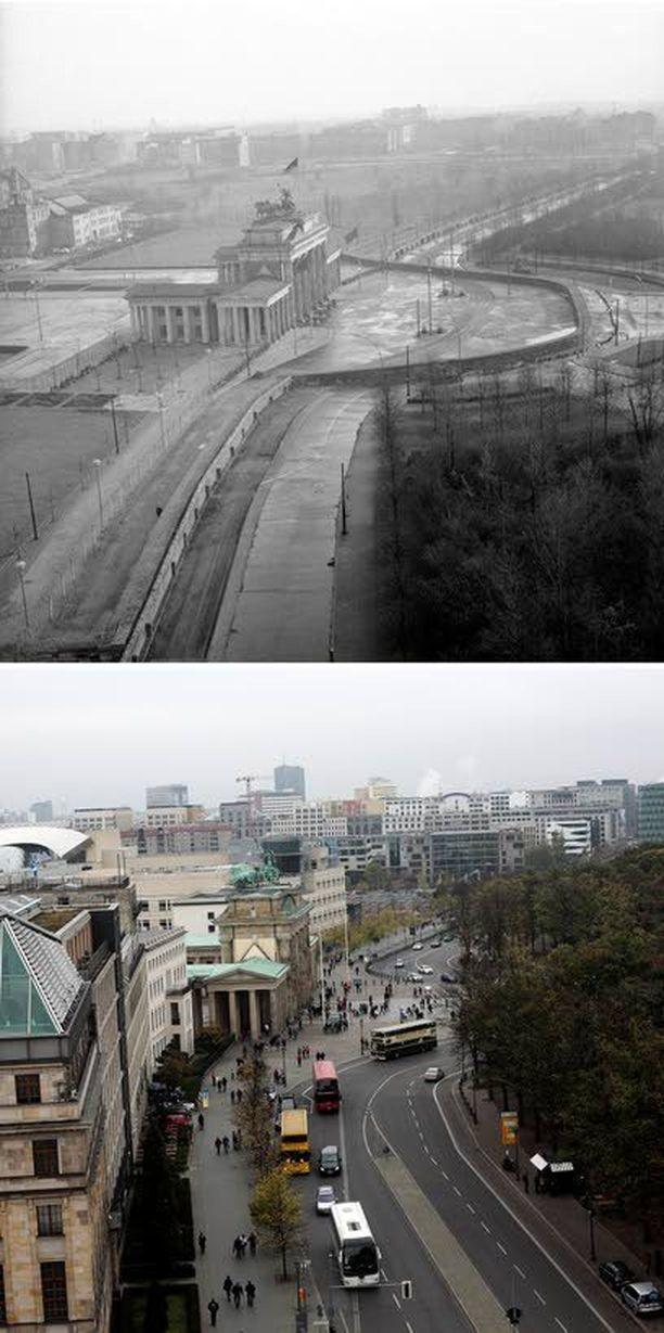 """Brandenburgin portti ilmasta kuvattuna. Vasemmalla Itä-Berliini, oikealla Länsi-Berliini. """"Antifasistinen suojavalli"""" kiersi historiallisen portin kaukaa."""