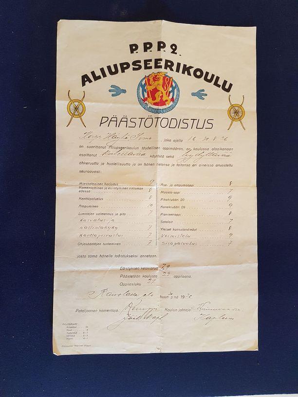 Simo Häyhän aliupseerikoulun todistuksen ainoa kymppi tuli ampumisesta.