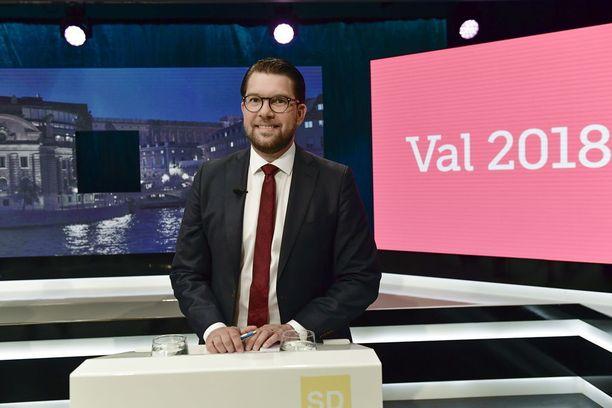 Ruotsidemokraattien puheenjohtaja Jimmie Åkesson kampanjoi Ruotsin vaaleissa maahanmuuttovastaisuudella.