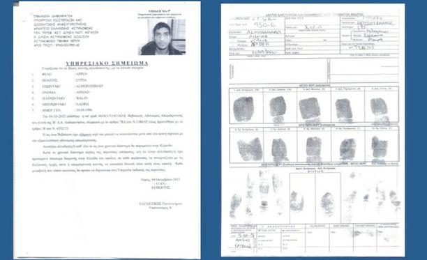 Kreikan maahanmuuttoasioista vastaava ministeriö on julkaissut dokumentit miehestä, joka kirjattiin saapuneeksi Lerosin saarelle lokakuussa. Hänen sormenjälkensä täsmäävät itsensä räjäyttäneen terroristin sormenjälkiin.