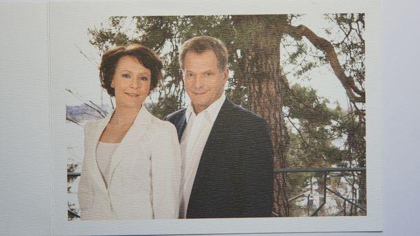 Kiitoskortissa oli kuva presidenttiparista.