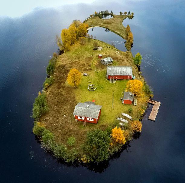 Kuvassa Kotisaari syksyllä. Kaikki vuodenajat näkyvät videolla.