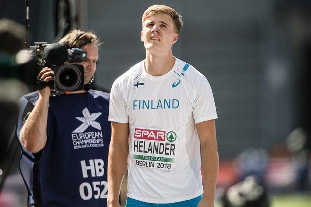 Pettymys finaalin ulkopuolelle jäämisestä näkyi Oliver Helanderin kasvoilta Berliinin olympiastadionilla.
