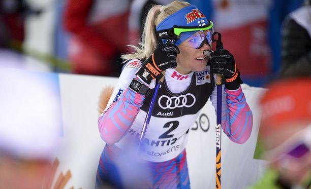 Mari Laukkanen on yksi ehdokas maastohiihdon pariviestin hiihtäjäksi olympialaisissa.