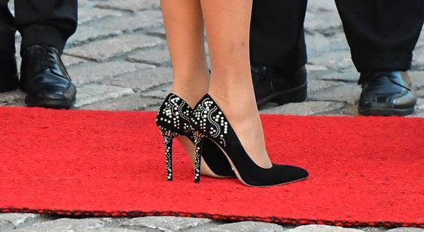 Näyttävät kengät täydensivät elegantin tyylin.