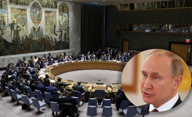 YK:n turvallisuusneuvosto ei hyväksynyt Venäjän vaatimusta lännen iskujen tuomitsemisesta.