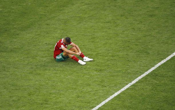 Marokon Aziz Bouhaddouz on yksi oman maalin viimeistelleistä pelaajista.