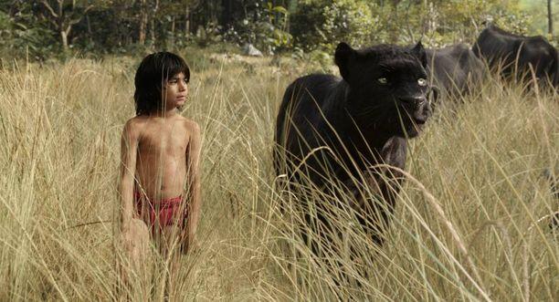 Mowgli on oikea ihminen, eläimet on tehty tietokoneella.